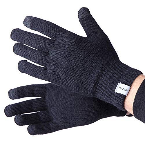 Wool Ski Glove Liner with Touch Screen Technology – Premium Merino Wool Winter Gloves for Skiing, Cold Weather (S, Black)