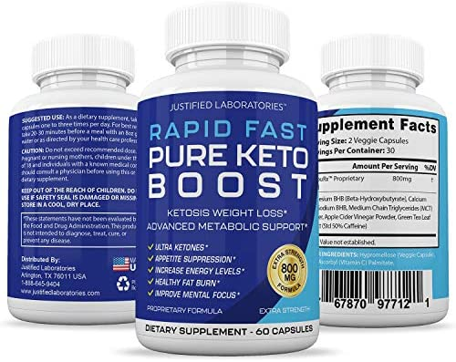 Rapid Fast Pure Keto Boost Pills Advanced BHB Ketogenic Supplement Exogenous Ketones Ketosis for Men Women 60 Capsules 1 Bottle 7