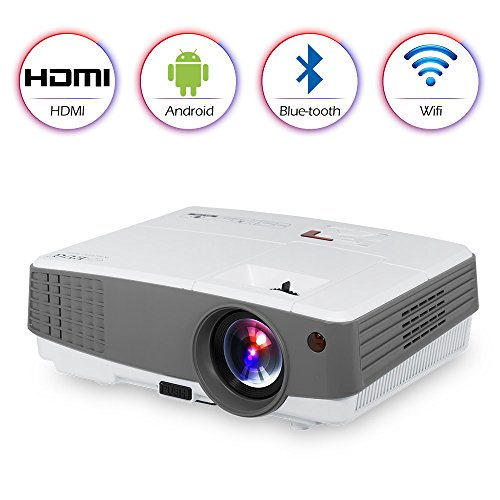 HD Portable LCD LED Home Video Projector Bluetooth Wifi Airplay Support 1080P Mini Smart Android Wireless HDMI USB VGA AV Audio Speakers for iPhone iPad Mac TV DVD PS4 XBOX Movie Gaming Party Outdoor