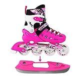 Adjustable Pink Inline Skates Ice Skates Combo Pack Gift Boxed for Kids Boys Girls Ladies Teens Size Medium