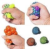 Fireboomoon Stress Relief Squeezing Soft Rubber Vent Grape Ball Hand Wrist Toy Funny Geek Gadget Vent Toy, Orange/Blue/Green, 3 Piece