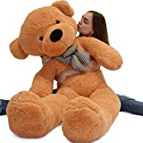 WOWMAX 4.5 Foot Light Brown Giant Huge Teddy Bear Cuddly Stuffed Plush Animals Teddy Bear Toy Doll 55'