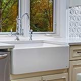 "Fine Fixtures Sutton Fireclay Sink, 30"" Apron Front Farmhouse Kitchen Sink."