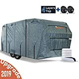 KING BIRD Extra-Thick 4-Ply Top Panel & Extra 2Pcs Reinforced Straps, Deluxe Camper Travel Trailer Cover, Fits 22'- 24' RV Cover -Breathable Water-Repellent Anti-UVwith Storage Bag&Tire Covers