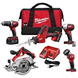Milwaukee M18 18-Volt Lithium-Ion Cordless Combo Tool Kit (5-Tool) with Two 3.0Ah Batteries, One Charger, One Tool Bag