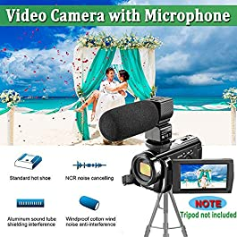 Camcorder Video Camera 4K 48MP WiFi YouTube Camera Night Vision Camcorder Blogging Camera 16x Digital Camera Vlog Video Camera Camcorder with Lens Hoods title
