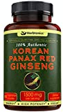 High Strength Korean Red Panax Ginseng 1500mg Supplement -120 Vegan Capsules- High Ginsenosides Powder Extract to Boost Energy, Endurance, Mood, Performance & Sexual Health Pills for Men and Women-
