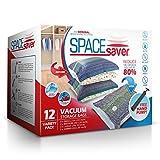 Spacesaver Premium Vacuum Storage Bags (3 x Small, 3 x Medium, 3 x Large, 3 x Jumbo) (80% More Storage Than Leading Brands) Free Hand Pump for Travel!