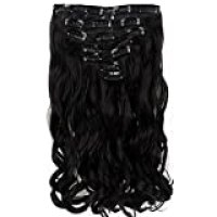 """Neverland Beauty 22""""7 Pcs 16 Clips Clip in Full Head Wavy Curly Hair Extensions Natural Black"""