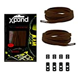 Xpand No Tie Shoelaces System with Elastic Laces - Dark Brown - One Size Fits All Adult and Kids Shoes