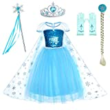Snow Queen Princess Elsa Costumes Birthday Dress Up for Little Girls with Crown,Mace,Gloves Accessories 3-4 Years(110cm)