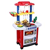 Excelvan Portable Children Xmas Gift Double-Sided Electronic Kitchen Playset Kit Cooking Role Pretend Play Toy Set Battery Powered with Real Water, Light and Sound Effect-Perfect for Kids (Red)