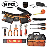 Mysterystone Kids Tool Set 15 Pieces Real Tool Kit for Children with Real Hand Tools, Kids Tool Belt, Magnetic Wristband, Pouch Bag for Small Hands DIY Woodworking Projects Home Repair