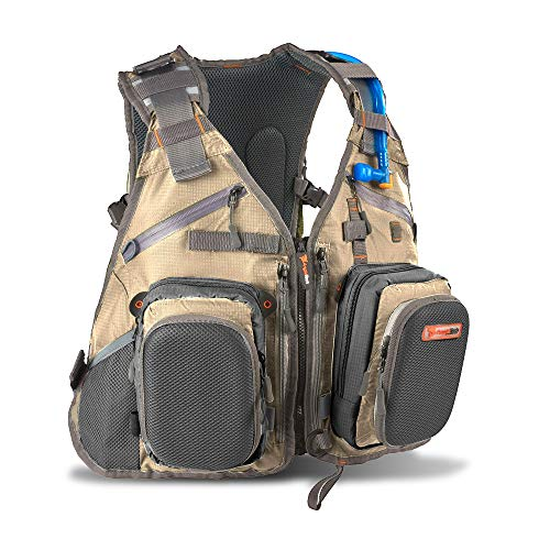 Anglatech Fly Fishing Backpack Vest Combo Chest Pack for Tackle Gear and Accessories, Includes Water Bladder, Adjustable Size for Men and Women