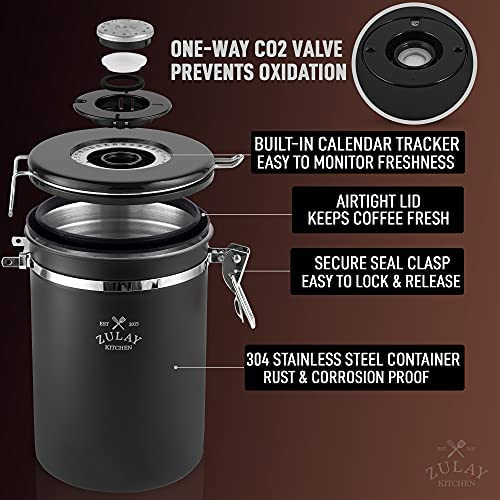 Zulay 21oz Coffee Canister For Ground Coffee - Stainless Steel Coffee Canisters With Scoop Holder & Date Tracker - Airtight Coffee Container & Coffee Storage For Coffee Jar, Tea, Sugar, Flour (Black)