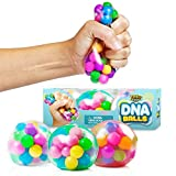 DNA Stress Balls [3 Pack] - Squeezing Stress Relief Ball - for Kids & Adults- Stress Squishy Toys for Autism, ADHD, Bad Habits & More- Risk-Free Sensory Rubber Ball