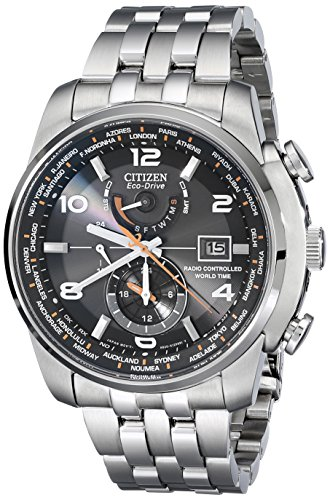 51LJE0jinjL Stainless steel watch with orange contrasts featuring alternating numeral and baguette-shape markers, date window at 3 o'clock, and luminous hands 43 mm stainless steel case with antireflective-sapphire dial window Japanese quartz movement with analog display