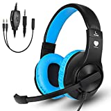 Gaming Headset for PS4,Xbox One Controller,Weton Updated Stereo Noise Cancelling Over Ear Wired Gaming Headphones with Mic LED Lights & Volume Control Headsets for Smartphones, Laptop, Mac,Games