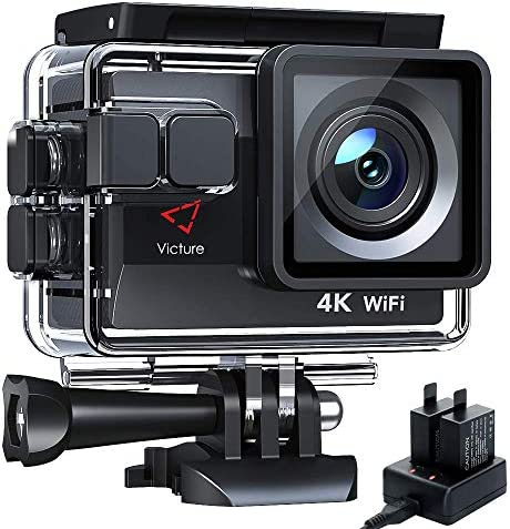 Victure AC820 Native 4K 50FPS Action Camera EIS 4X Zoom 20MP Sports Camera 40M Underwater Waterproof Camcorder, Extra Outlet Battery Charger with Battery, Remote and Mounting Accessories Kit Included