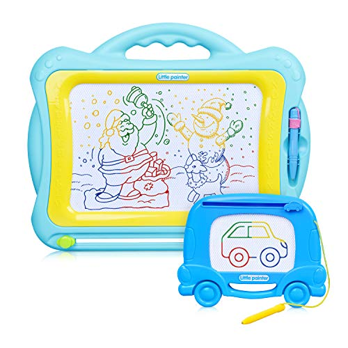 Magnetic Drawing Board - 2 Pack Erasable Magna Doodle Board with 1 Large Kids Scribble Etch Sketch 13.1X17in and 1 Mini Travel Magnet Writing Pad, Educational Learning Toy & Birthday Gifts for Toddler