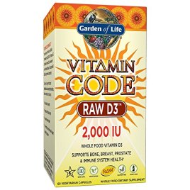 Garden of Life Raw D3 Supplement – Vitamin Code Whole Food Vitamin D3, Dairy and Gluten Free, Vegetarian Capsules