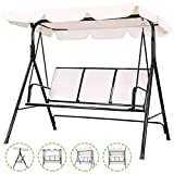 Flex HQ Patio Porch Swing Chair Canopy Outdoor Lounge 3-Person Seat Hang Bench Hammock (Beige)