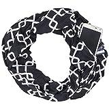 Womens Interlocking Chain Square Pattern Scarf w/Zipper Pocket - Pop Fashion (Black)