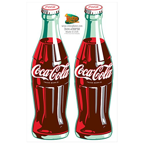 Coca-Cola Green Contour Bottles Vinyl Sticker Set of 2 Decals