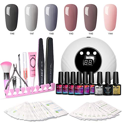 Modelones Gel Nail Polish Kit with UV Light - New Winter Series with 6 Colors Gel Matte Top Coat, Base Top Coat, 24W Nail Lamp, Upgraded Manicure Tools