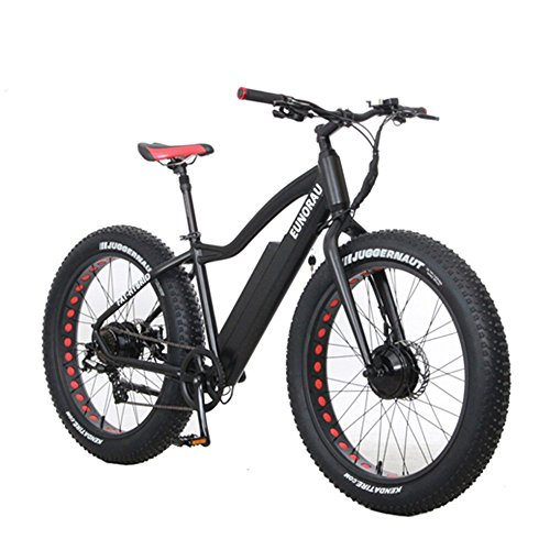 All Wheel Drive Fat Tire Hybrid E-Bike w/ LCD Display - 600 Watt Dual Motor, Pedal Assist AWD Electric Bicycle for Snow, Beach & Mountain. Disc Brakes, Shimano Shifter, 36v Battery, Zero Emissions!