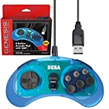 Retro-Bit Official Sega Genesis USB Controller 8-Button Arcade Pad for PC, Mac, Steam, RetroPie, Raspberry Pi - USB Port - Clear Blue