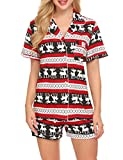 Ekouaer Sleepwear Womens Short Christmas Pajama Set(Christmas, Medium)