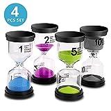 Sand Timer VAGREEZ 4 Colors Hourglass Sand Timer Clock Toothbrush Timer 1 Min 2Mins 5Mins 10Mins Timer for Kids Games Classroom Home Office Kitchen Use (Pack of 4)