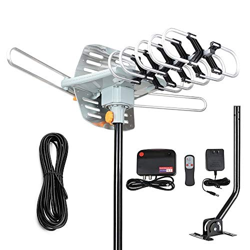 2019 Version Outdoor Amplified Digital HDTV Antenna - 150 Mile Motorized 360 Degree Rotation- TA Amplified HD TV Antenna for 2 TVs Support UHF/VHF 4K 1080P Channels Wireless