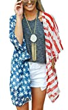 Women's American Flag Print Kimono Cover Up Tops Shirt Patriotic CArdigan (one size, picture color)