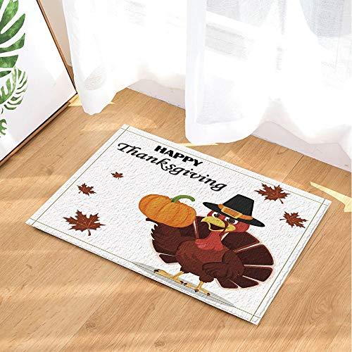 Thanksgiving Decor Turkey Bird Wearing a Pilgrim Hat and Holding Pumpkin Bath Rugs Non-Slip Doormat Indoor 23.6X15.7IN