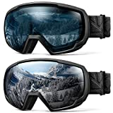 OutdoorMaster Kids OTG Ski Goggles - 2-Pack Over Glasses Kids Ski Goggles, 100% 400UV Protection - for Kids & Youth - Black/Grey (VLT 10%) + Black/L.Blue (VLT 60%)