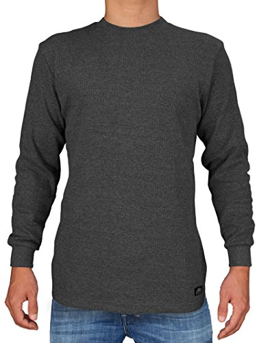 Knocker Men's Heavy Weight Waffle Pattern Thermal Shirt (Charcoal, Medium)