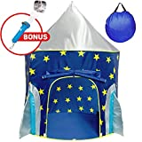 Rocket Ship Play Tent for Boys - Rocket Ship Tent, Astronaut Space Tent for Kids w/ Projector Toy for Indoor Outdoor Kids Pop Up Rocket Tent Fort