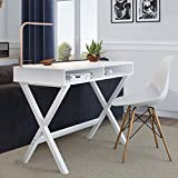 Nathan James 51002 Kalos Home Office Makeup Vanity Table, Computer Desk, White (Wood)