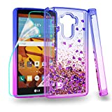 ZingCon Suit for LG G4 Stylus(NOT G4) Case,LG G Stylus,LG LS770 Phone Case with Glitter Quicksand,[HD Screen Protector] Shockproof Hybrid Hard PC Soft TPU Protective Cover-Blue/Purple