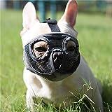 JYHY Short Snout Dog Muzzles- Adjustable Breathable Mesh Bulldog Muzzle for Biting Chewing Barking Training Dog Mask,Grey(Eyehole) M