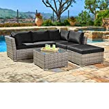 SUNCROWN Outdoor Sectional Sofa (4-Piece Set) All-Weather Grey Checkered Wicker Furniture with Black Washable Seat Cushions & Glass Coffee Table | Patio, Backyard, Pool | Waterproof Cover & Clips