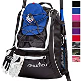 Athletico Baseball Bat Bag - Backpack for Baseball, T-Ball & Softball Equipment & Gear for Youth and Adults   Holds Bat, Helmet, Glove, Shoes   Separate Shoe Compartment, Fence Hook (Black)