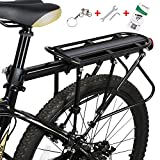 WESTGIRL Bike Rack - Bicycle Cargo Rack with Fender Board, 310LB Capacity Solid Loads Touring Carrier, Height Adjustable Quick Release Seatpost Mount, Cycling Equipment