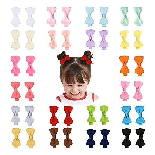Prohouse Tiny Hair Bows Fully Lined Hair Clips for Baby Fine Hair Infants Toddlers Girls (Fully Wrapped-40PCS)