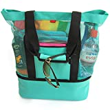 OdyseaCo - Aruba Beach Bag - Beach Tote w/Zipper & Insulated Cooler (Turquoise)