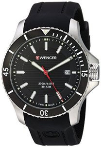 Wenger Men's Seaforce Stainless-Steel Swiss-Quartz Watch with Silicone Strap, Black, 21 (Model: 01.0641.117