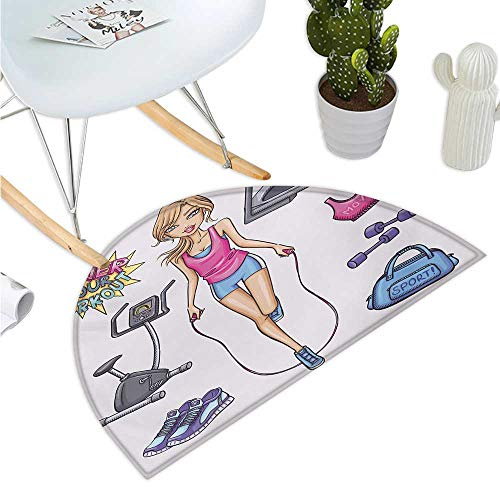 Fitness Half Round Door mats Beautiful Young Cartoon Girl Working Out at Gym Bike Treadmill Outfits and Quote Bathroom Mat H 23.6' xD 35.4' Multicolor