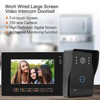 9inch-Video-Door-Phone-Intercom-System-Full-Touch-Screen-with-MonitorIntercomUnlockHand-FreeIR-Night-Vision-Function-Wired-Doorbell-Camera-Wired-Video-Door-Phone-HD-Camera-Kits-for-Villa-Home-O